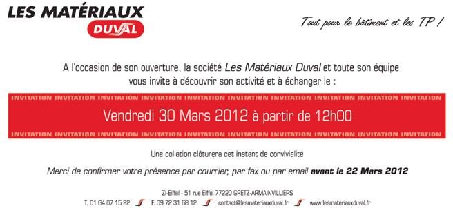 Invitation à l'inauguration des Matériaux Duval